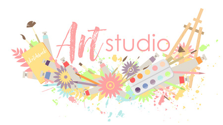 Multi-colored logo or signboard of art studio