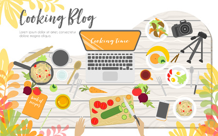 Workplace of cooking blogger, view from above, desktop, fruits, vegetables and other products and appliances for cooking Illustration