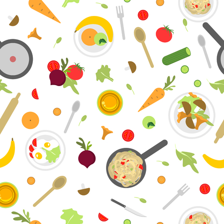 Seamless pattern with products and appliances for cooking Illustration