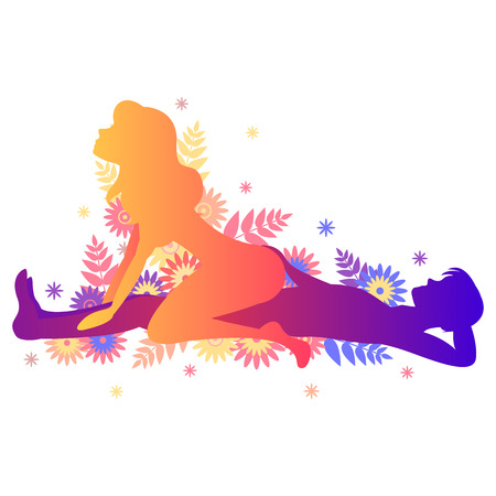 Kama sutra pose The Rider. Man and woman on white background poses illustration with flowers
