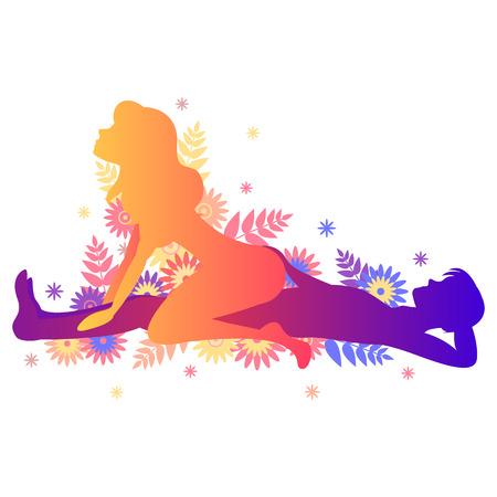 Postura del Kama Sutra El jinete. Hombre y mujer sobre fondo blanco plantea ilustración con flores Ilustración de vector