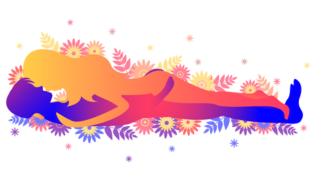 Kama sutra pose The Slide. Man and woman on white background poses illustration with flowers