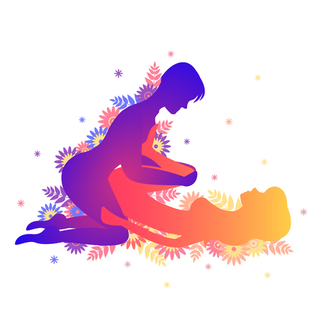 Kama sutra sexual pose The Tominagi. Man and woman on white background sex poses illustration with flowers