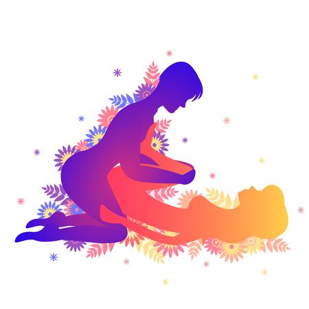 Pose del Kama Sutra El Tominagi. Hombre y mujer sobre fondo blanco plantea ilustración con flores Ilustración de vector
