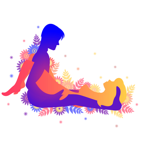 Kama sutra pose The Glowing Juniper. Man and woman on white background poses illustration with flowers
