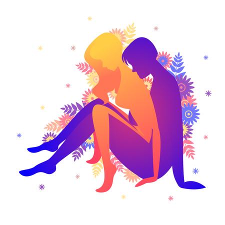 Kama sutra pose le bal assis. Homme et femme sur fond blanc pose illustration avec des fleurs