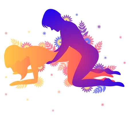 Kama sutra sexual pose The Hound. Man and woman on white background doing sex poses illustration with flowers