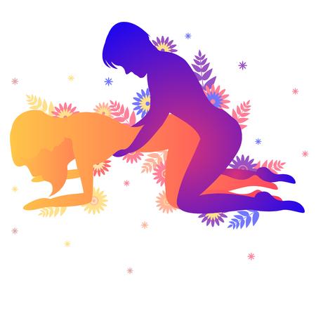 Postura del Kama Sutra El sabueso. Hombre y mujer sobre fondo blanco haciendo poses ilustración con flores
