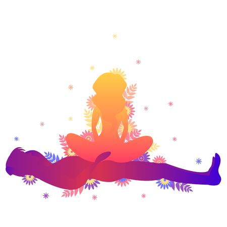 Kama sutra pose The Ship. Man and woman on white background doing poses illustration with flowers