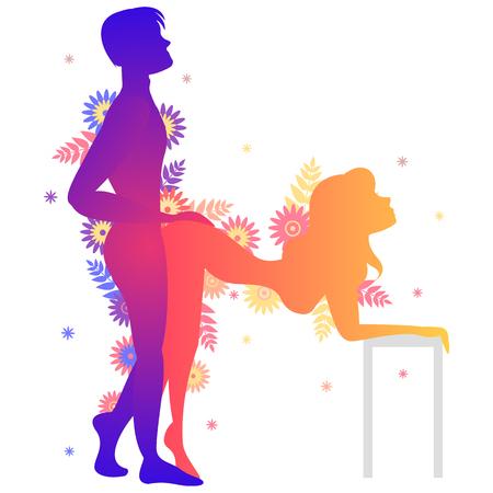 Pose del Kama Sutra El abanico. Hombre y mujer sobre fondo blanco haciendo poses ilustración con flores