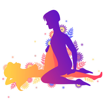 Kama sutra pose The Cross. Man and woman on white background doing poses illustration with flowers