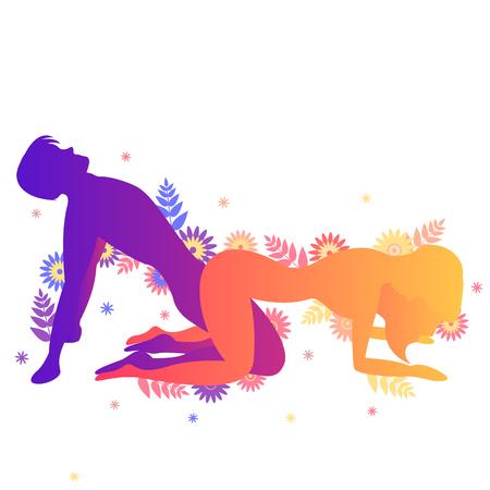 Pose del Kama Sutra La bisagra. Hombre y mujer sobre fondo blanco haciendo poses ilustración con flores