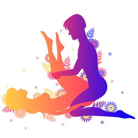 Pose del Kama Sutra El héroe. Hombre y mujer sobre fondo blanco haciendo poses ilustración con flores