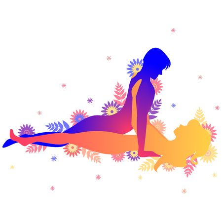 Kama sutra sexual pose The Classic. Man and woman on white background doing sex poses illustration with flowers Illustration