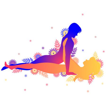 Pose del Kama Sutra El Clásico. Hombre y mujer sobre fondo blanco haciendo poses ilustración con flores
