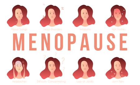 Ensemble de 8 symptômes courants de la ménopause, femme et gros texte