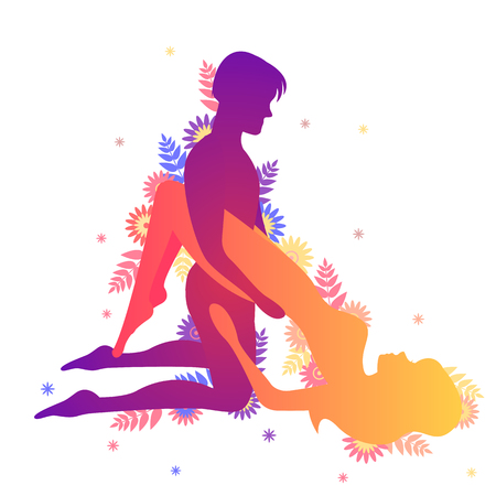 Kama sutra sexual pose The Dolphin on white background Illustration