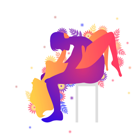 Kama sutra sexual pose The Waterfall on white background