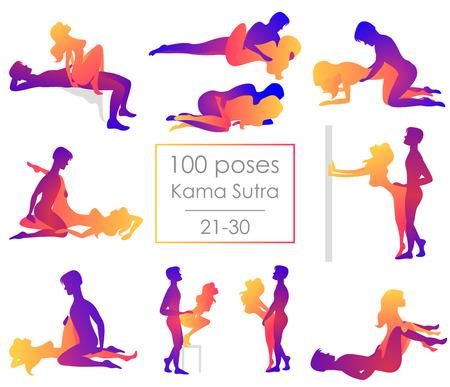 Establece diez posiciones del Kama Sutra. El hombre y la mujer sobre fondo blanco plantea la ilustración. Cien poses
