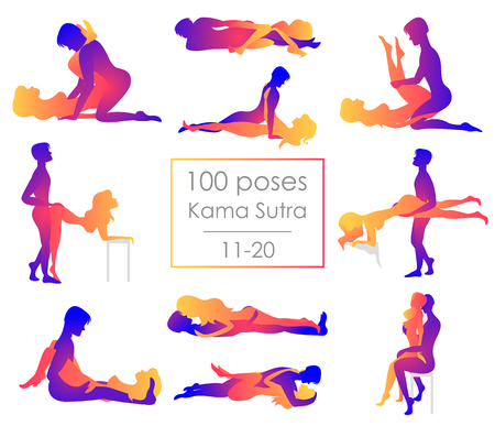 Set ten Kama Sutra positions. Man and woman on white background sex poses illustration. Hundred poses