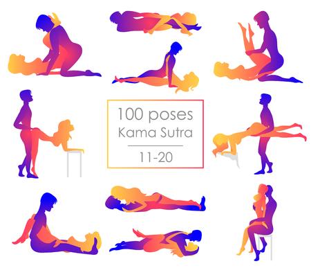 Setze zehn Kamasutra-Positionen. Mann und Frau auf weißem Hintergrund stellen Illustration dar. Hundert Posen Vektorgrafik