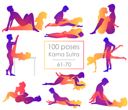 Establece diez posiciones del Kama Sutra. El hombre y la mujer sobre fondo blanco plantea la ilustración. Cien poses Ilustración de vector