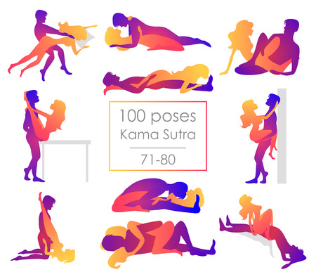 Imposta dieci posizioni di Kama Sutra. L'uomo e la donna su sfondo bianco pone l'illustrazione. Cento pose