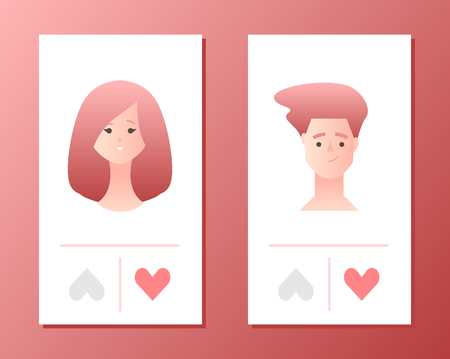 Mobile application for dating or searching romantic partner on internet. Templates concept vector illustration flat design