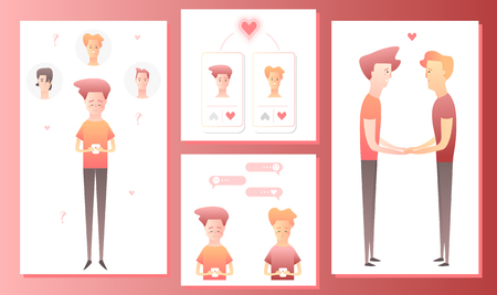 Two men using mobile application for dating or searching romantic partner on internet. Gay male couple met online. Mobile app templates concept vector illustration flat design Illustration