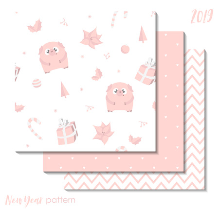 Set of New Year 2019 seamless patterns with pink pigs for scrapbooking