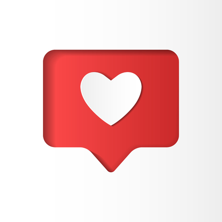 Counter notification icon, follower like, heart, paper cut style Ilustrace
