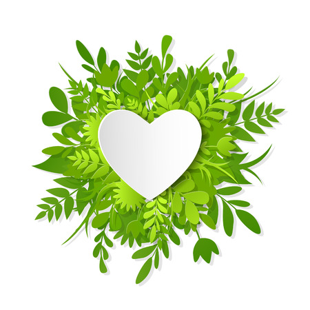 Like icon, paper cut heart on the green plants, grass, leaves and flowers, save the nature