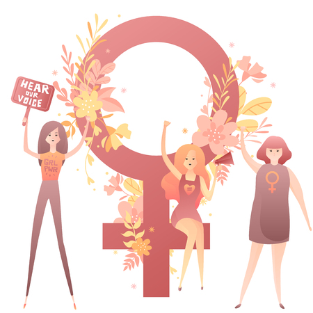 Feminist girls fight for women's rights with banners, text hear our voice, girl power