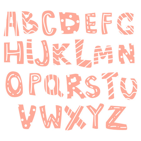 Hand-drawn letters, colorful English alphabet for children