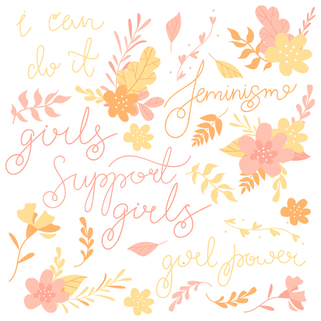 Hand-drawn letters, phrases set about feminism, flowers and plants, colorful illustration Illustration