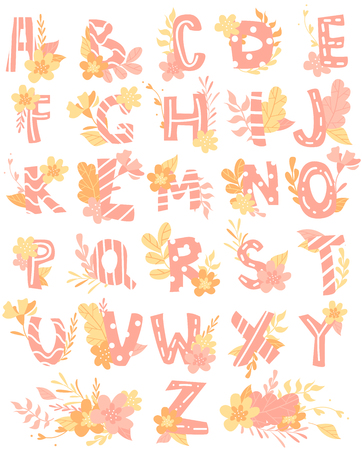 Hand-drawn letters, colorful English alphabet for children with flowers Illustration
