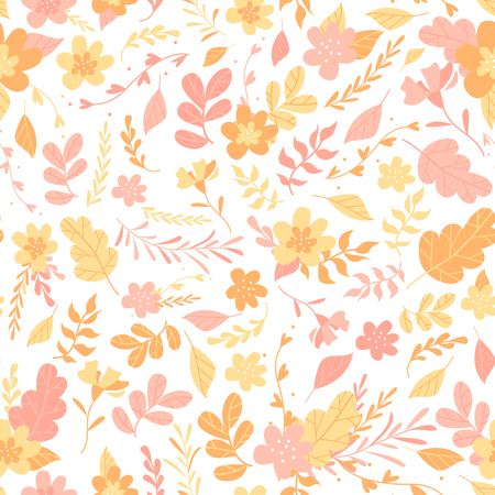 Floral pattern, background with plants and flowers, trendy flat style Illustration