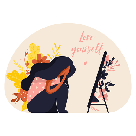 Girl is sitting in front of the mirror and crying. Body positive illustration with plants in trendy flat style. Text love yourself Vettoriali