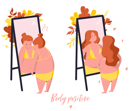 Comparison. Girl who does not like the reflection in the mirror and  girl who loves herself. Body positive illustration