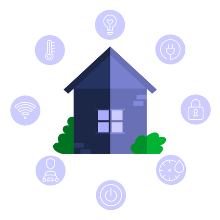 Smart house system automation infographic, Blue simple building and icons set
