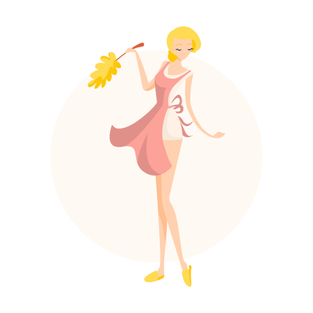 Cute blonde girl cleaning lady dusting in a pink apron. Isolated flat illustration 일러스트