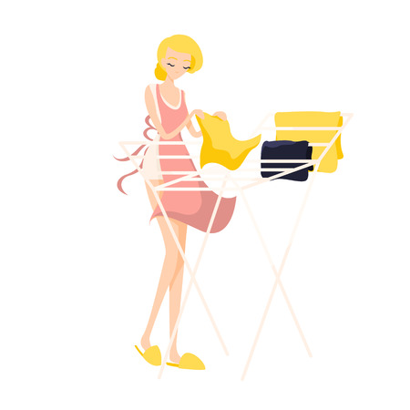 Cute blonde girl hangs washed clean linen in a pink apron. Isolated flat illustration