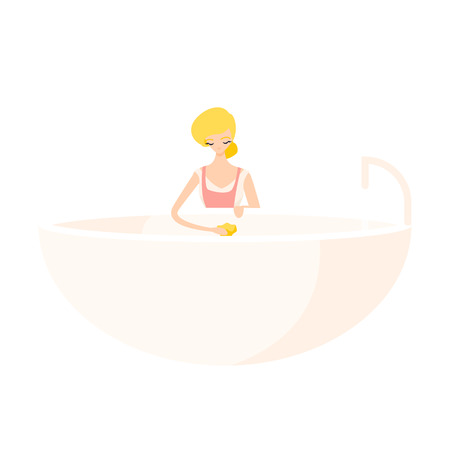 Cute blonde girl washes a bath with a rag in a pink apron. Isolated flat illustration