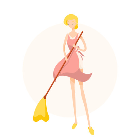 Cute blonde girl sweeping the floor in a pink apron. Isolated flat illustration 일러스트