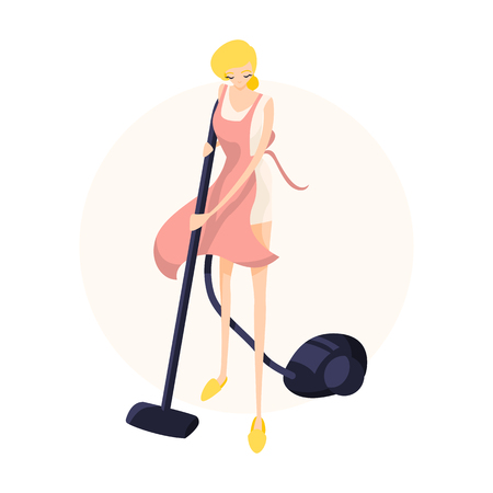 Cute blonde girl vacuuming the floor in a pink apron. Isolated flat illustration