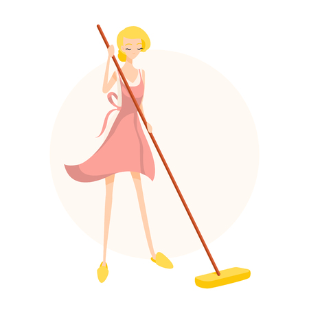 Cute blonde girl washes the floor with a mop in a pink apron. Isolated flat illustration
