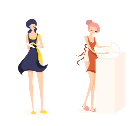 Two cute girl cleaners. Girl with pink hair is washing a plate and brunette is washing dishes. They are work a orange, yellow and blue aprons. Isolated flat illustration Illustration