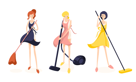 Set of three cute girl cleaners. Readhead sweeping the floor, Blonde vacuums and brunette washes with a mop. They are worn a pink, yellow and blue aprons. Isolated flat illustration Illustration
