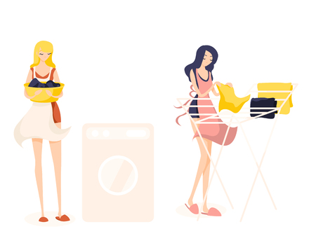 Two cute girl cleaners. Blonde is going to wash clothes, keeps clothes in a basin and brunette hangs washed clean linen. They are work a orange, yellow and blue aprons. Isolated flat illustration Illustration