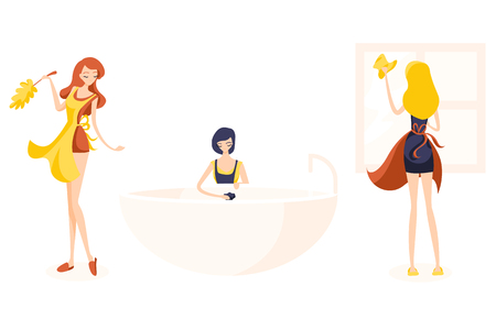 Set of three cute girl cleaners. Readhead dusting, Blonde washes the window and brunette washes a bath with a mop.